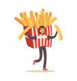 man wearing french fries costume fast food snack vector image vector image