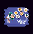 marketing social media megaphone icons vector image