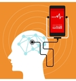 mental brain health monitoring mobile phone vector image