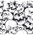 monochrome seamless pattern with skulls vector image vector image