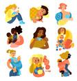 motherhood icons set vector image vector image