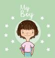 my boy cute cartoon card vector image vector image