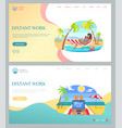 people working with laptop on beach summer vector image vector image