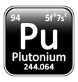 Periodic table element plutonium icon vector image vector image