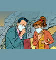polluted air man and woman bad ecology vector image