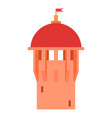 Red ancient dome of the castle icon cartoon style