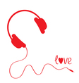 Red headphones with cord White background Love vector image vector image