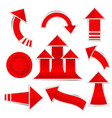 red paper arrow stickers with shadows vector image vector image