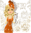 Retro Party Cute Girl Background vector image vector image