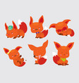 set of cute little foxes in movement and in vector image vector image