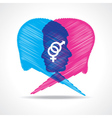 Sketched male and female face make speech bubble vector image