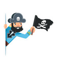 skull flag sea dog pirate buccaneer filibuster vector image