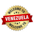 venezuela 3d gold badge with red ribbon vector image vector image