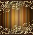 vintage frame with striped pattern golden curls vector image
