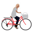 woman riding a clasical bicycle vector image
