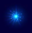abstract blue glow light burst explosion with vector image