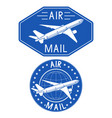 air mail blue stamps vector image vector image