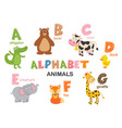 alphabet with animals a to g vector image