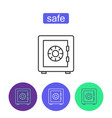 bank safe outline icons set vector image vector image