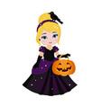 beautiful halloween princess vector image vector image