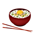 Bowl of White Rice with Raw Egg and Scallion vector image vector image