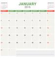 Calendar Planner 2016 Flat Design Template January vector image vector image