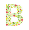 capital letter b green floral alphabet element vector image vector image