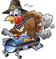 cartoon an thanksgiving turkey riding a bbq vector image