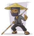 Cartoon black Asian ninja in mask vector image vector image