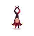 cheerful joker flat character standing upside down vector image vector image