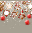 christmas background with christmas gingerbreads vector image vector image