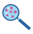 coronavirus under magnifying glass research vector image vector image