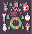 cute happy christmas tags icons vector image