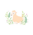 cute little lamb lying on green meadow adorable vector image vector image
