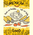 design template of poster with mexican food vector image