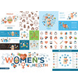 digital woman health icons set vector image