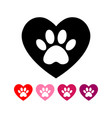 dog s track in heart cat and paw vector image vector image