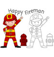 doodle happy fireman character vector image