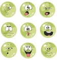 Emotion smiles green color set 009 vector image