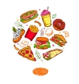 Fast Food Round Composition vector image vector image