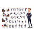 flat manager office workplace male businessman in vector image