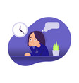 girl is sitting at the table boring vector image vector image
