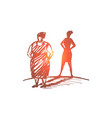 hand drawn fat woman with her shadow as slim lady vector image vector image
