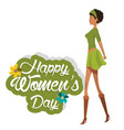 happy womens day cute girl green dress vector image vector image
