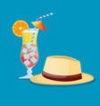 hat of summer and glass of cold drink vector image