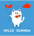 hello summer white cat holding red balloon vector image vector image