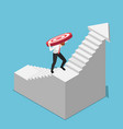 isometric businessman carrying target while vector image vector image