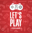 lets play video game game controller red backgrou vector image