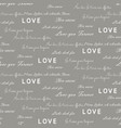 love letters seamless gray pattern vector image