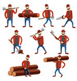 lumberjack icons set cartoon style vector image
